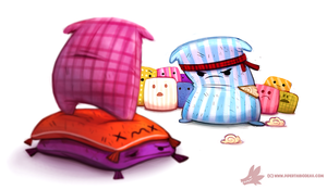Daily Paint #1084. Pillow Fight Club by Cryptid-Creations