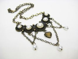 Heart Locket Pearl Necklace by pila12903