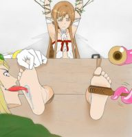 Fairy King Playing with Asuna (colored) by topagentbrian