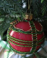 Christmas Ornament - Red and Green by PurlyZig