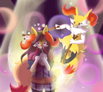 Braixen and Nia as Pokken's Pop Star Siblings! by Mewscaper