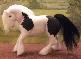 OOAK felt fabric model Gypsy Vanner cob horse by Tawneyhorses