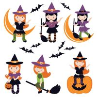 Vector little girl witch costume in differnet styl by cgvector