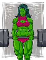 She-Hulk Weight lifter by Claret821021