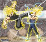 -DBM- Trunks VS Vegeta -V3- by DBZwarrior