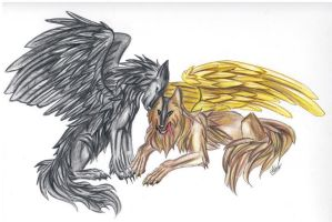 Two Wolves Reques by Lucky978 by ArtOfThePawAndFang