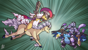 Mega Ampharos VS Armored Mewtwo by Ian-the-Hedgehog