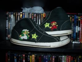 Mario and Luigi Cross-Stitch on Converse by venkman3000