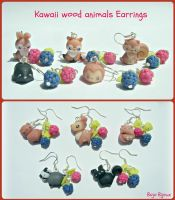 Kawaii wood animals earrings by Bojo-Bijoux