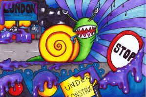 Crazy Rampaging Mutant Snail by Moon-Lilly