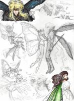 Laby sketches: Jareth and Sarah as fairies by Kiyomi-chan16