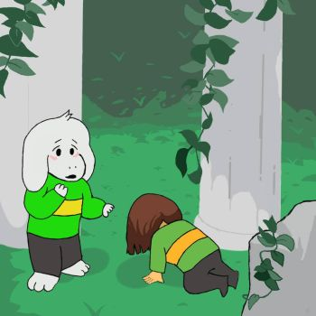 Asriel meets Chara by russia001