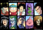 Top 10 favorites villains color by Tohad