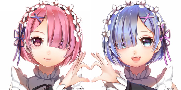 Re:Zero Ram and Rem by DumplingYumYum