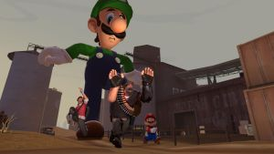 Attack of the 50 foot tall Luigi by TheCrimsonLoomis