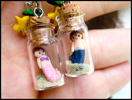 Sora + Kairi Mermaid Charms by GrandmaThunderpants