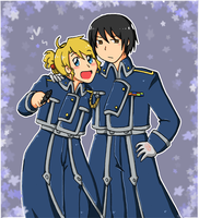 Emily and Kiku as Riza and Roy by SparxPunx