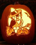 Vintage Halloween design on a pumpkin by kenklinker