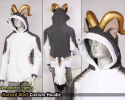 Horned Wolf Custom Hoodie by lemonbrat