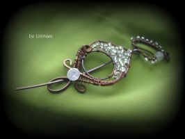 Wire Wrapped Shawl Pin by Lirimaer86