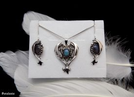 'Beauty of dragons', sterling silver jewelry set by seralune