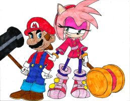Team Mario and Amy by AngelMaria89