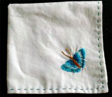 Embroidered Butterfly Handkerchief by starrley