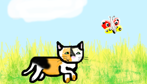 Cat chasing butterfly by turtlyawesome