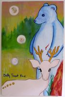 Bear, white deer, spirits 09 by beatrixxx