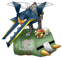 Grubbin, Charjabug and Vikavolt