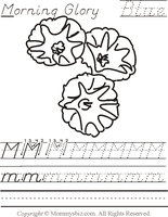 Mommysbiz | M-MorningGlory-Blu Preschool Worksheet by DanaHaynes