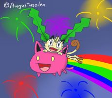 Meowth And Hoppip YES! by Augustusalex