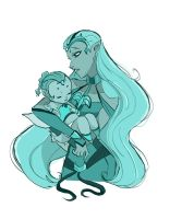 Queen Hatme and baby Oceana (By Actionkiddy) by MOMOpJonny