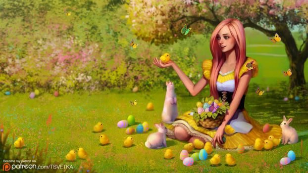 Fluttershy wishes you a happy Easter by Tsvetka