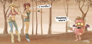 hotties and a monster by allanced