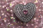 HEART SILVER CHARM WITH FANCY PINK AND PINK CZ by MaggieMoonPhotogrphy