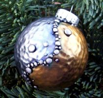 Metallic Silver and Gold Polymer Clay Ornament by MandarinMoon
