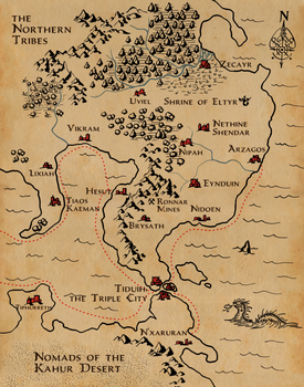 From Zecayr to N'xaruran - a fantasy map by iampagan