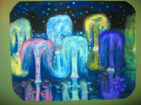 Noctural Neon Fountains by Winter-Colorful