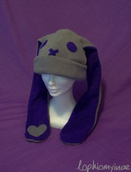 Grey and Purple Bunny Hat by Lophiomyinae