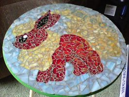 Flareon Mosaic Table by LunaNightSky