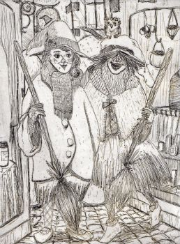 little witches - etching by Matpa