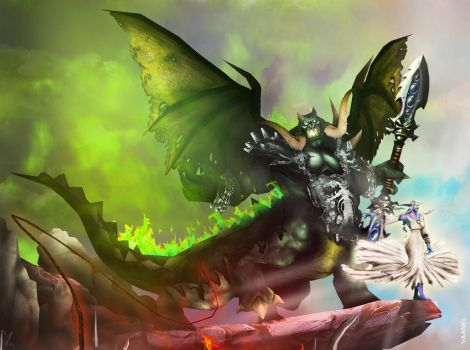 WotA Poster Zoom: Mannoroth and Azshara by Vaanel