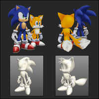 Sonic and Tails - 3D by saunteringstep