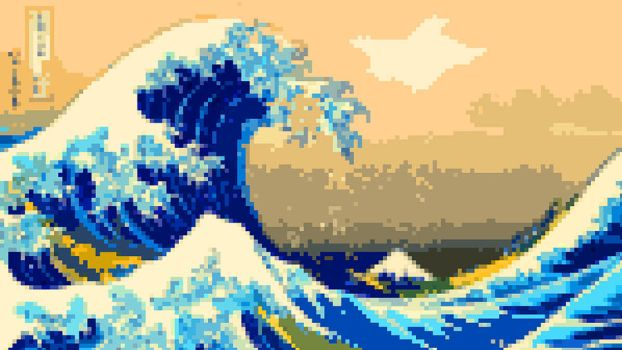 8-Bit Kanagawa Wave by Pixelated-Takkun