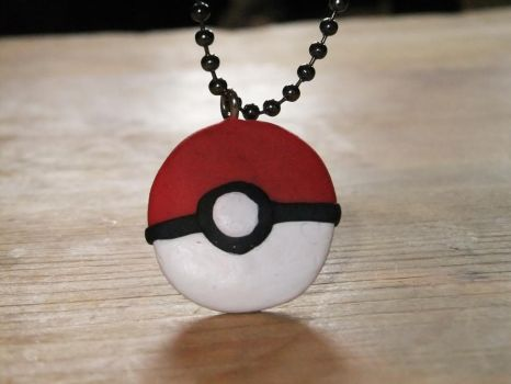 Clay Pokeball Necklace by phraxdust