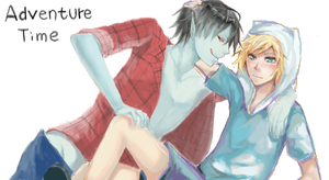 Marshall Lee and Finn by DevilPink