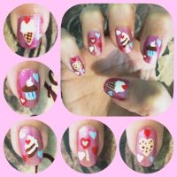 Valentine Nail Art Right by MikariStar