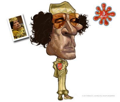 Gaddafi Gtoon-Caricature by haroldgeorge-gsting
