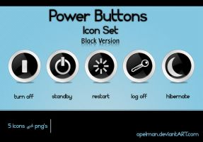 Power Buttons Icon Set -Black by opelman